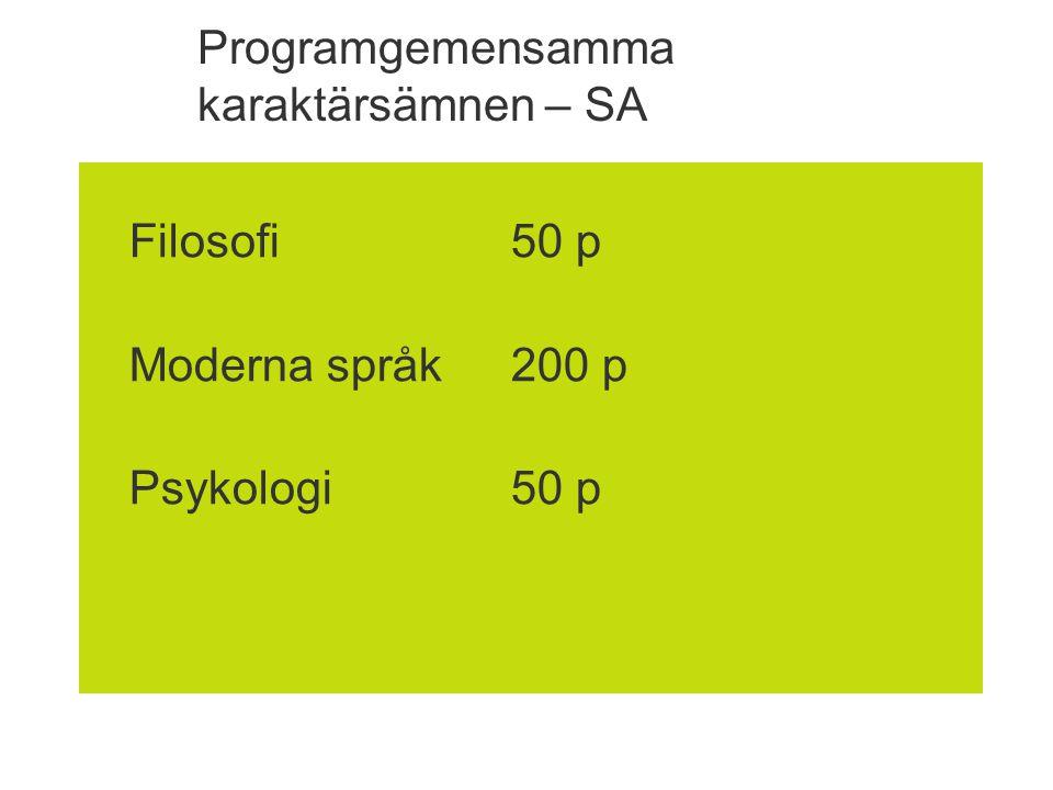 Programgemensamma karaktärsämnen – SA Filosofi50 p Moderna språk200 p Psykologi50 p