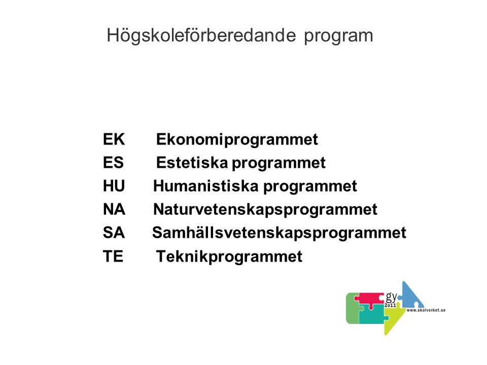 Högskoleförberedande program EK Ekonomiprogrammet ES Estetiska programmet HU Humanistiska programmet NA Naturvetenskapsprogrammet SA Samhällsvetenskapsprogrammet TE Teknikprogrammet