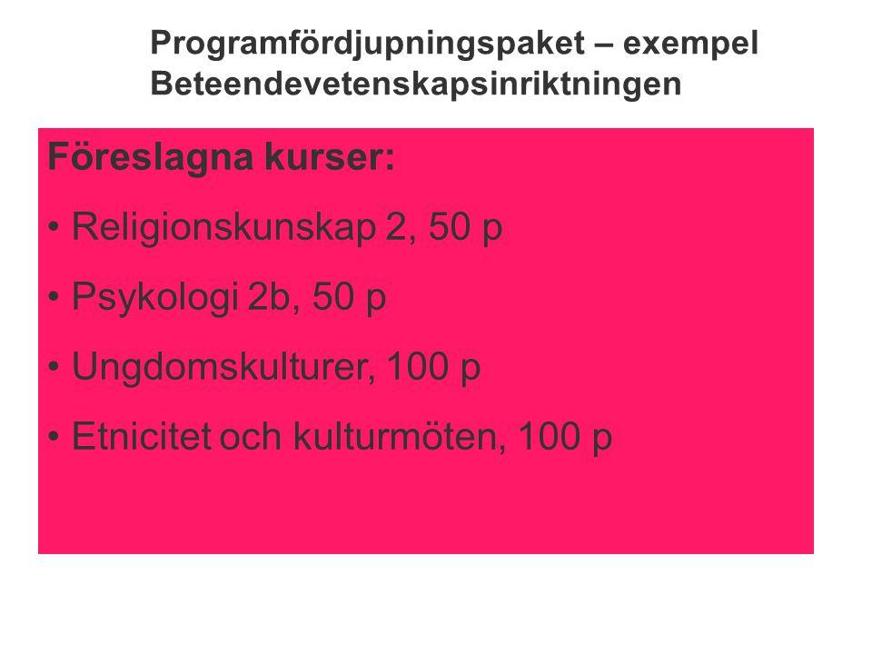 Programfördjupningspaket – exempel Beteendevetenskapsinriktningen Föreslagna kurser: Religionskunskap 2, 50 p Psykologi 2b, 50 p Ungdomskulturer, 100 p Etnicitet och kulturmöten, 100 p