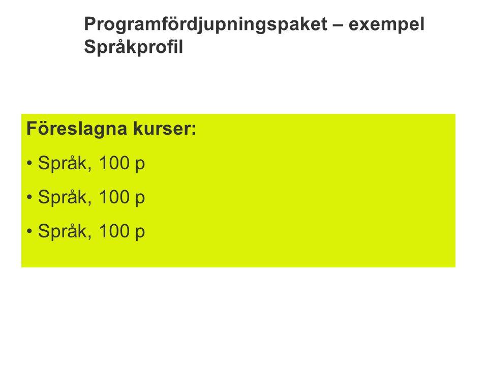 Programfördjupningspaket – exempel Språkprofil Föreslagna kurser: Språk, 100 p