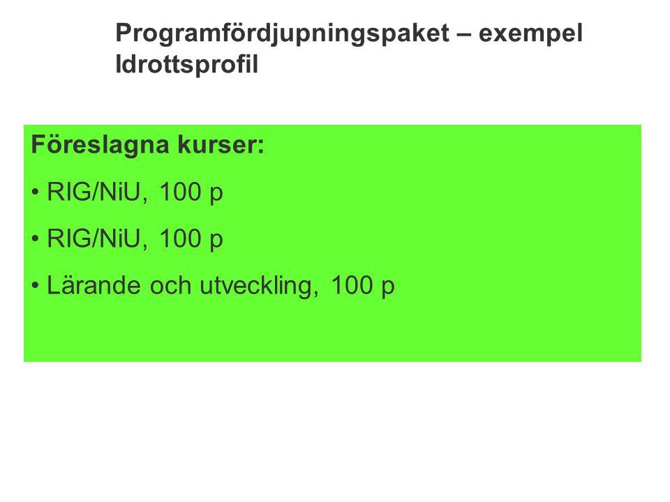 Programfördjupningspaket – exempel Idrottsprofil Föreslagna kurser: RIG/NiU, 100 p Lärande och utveckling, 100 p