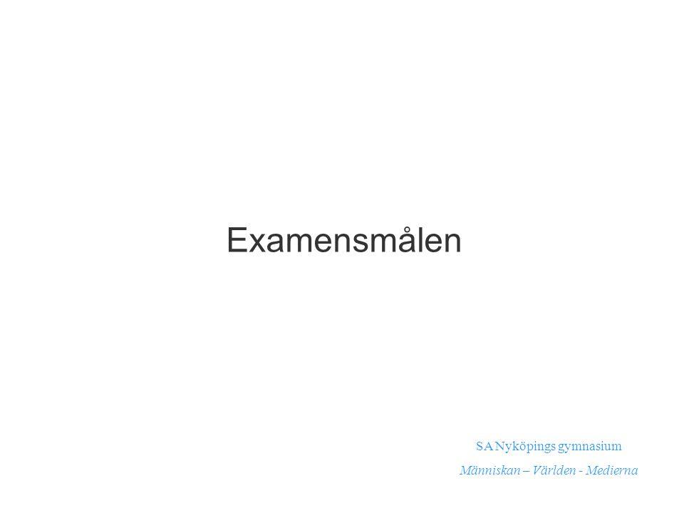 Examensmålen SA Nyköpings gymnasium Människan – Världen - Medierna