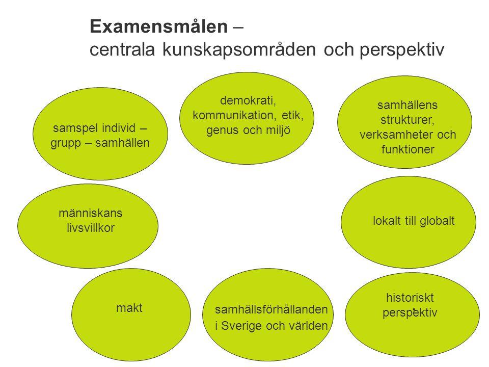 Examensmålen - centrala förmågor.