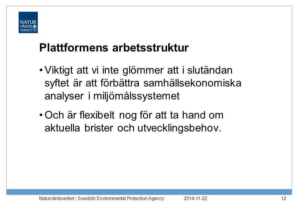 2014-11-22 Naturvårdsverket | Swedish Environmental Protection Agency 12 Plattformens arbetsstruktur Viktigt att vi inte glömmer att i slutändan syftet är att förbättra samhällsekonomiska analyser i miljömålssystemet Och är flexibelt nog för att ta hand om aktuella brister och utvecklingsbehov.
