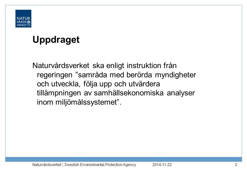 2014-11-22 Naturvårdsverket | Swedish Environmental Protection Agency 2 Uppdraget Naturvårdsverket ska enligt instruktion från regeringen samråda med berörda myndigheter och utveckla, följa upp och utvärdera tillämpningen av samhällsekonomiska analyser inom miljömålssystemet .