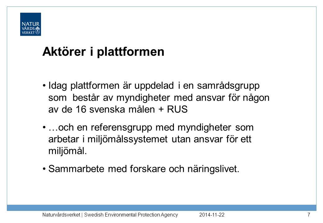 2014-11-22 Naturvårdsverket | Swedish Environmental Protection Agency 7 Aktörer i plattformen Idag plattformen är uppdelad i en samrådsgrupp som bestå