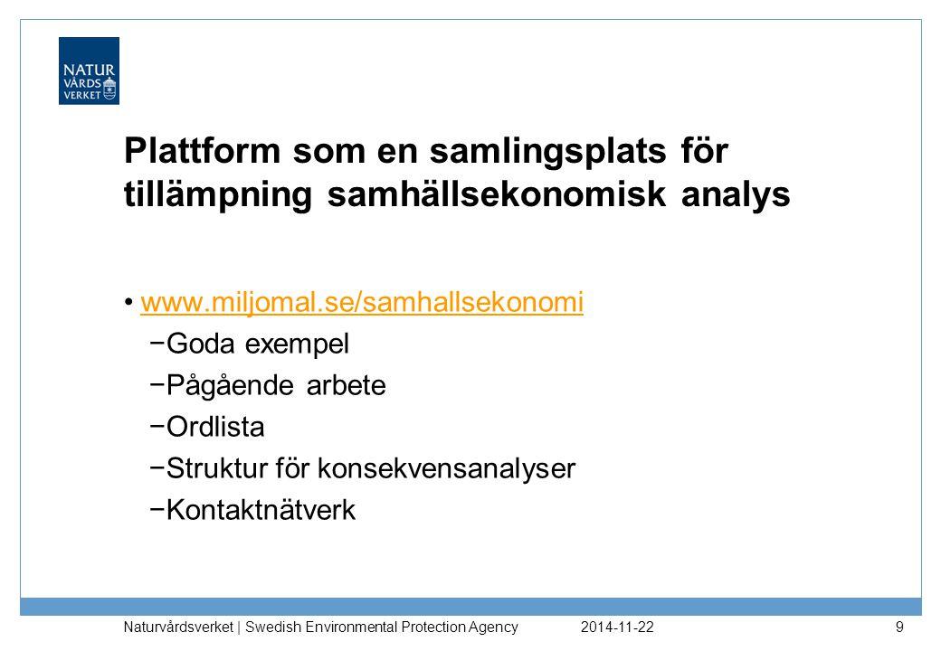2014-11-22 Naturvårdsverket | Swedish Environmental Protection Agency 9 Plattform som en samlingsplats för tillämpning samhällsekonomisk analys www.mi