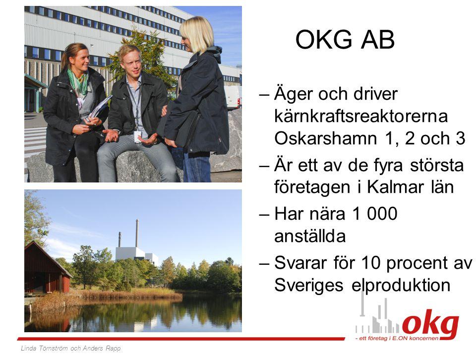 OKG AB –Äger och driver kärnkraftsreaktorerna Oskarshamn 1, 2 och 3 –Är ett av de fyra största företagen i Kalmar län –Har nära 1 000 anställda –Svara