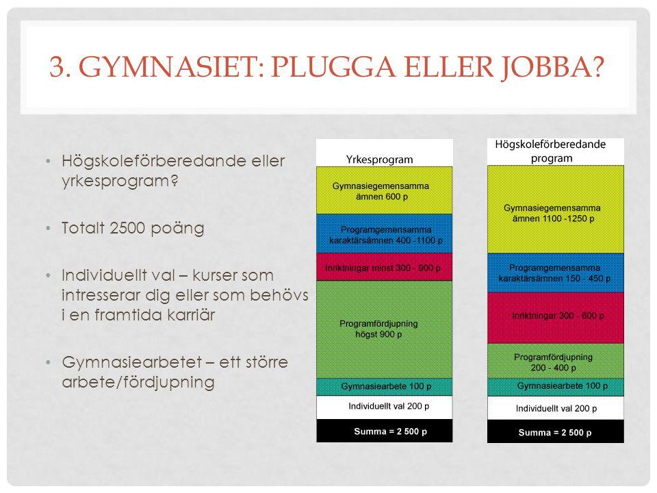 3. GYMNASIET: PLUGGA ELLER JOBBA? Högskoleförberedande eller yrkesprogram? Totalt 2500 poäng Individuellt val – kurser som intresserar dig eller som b