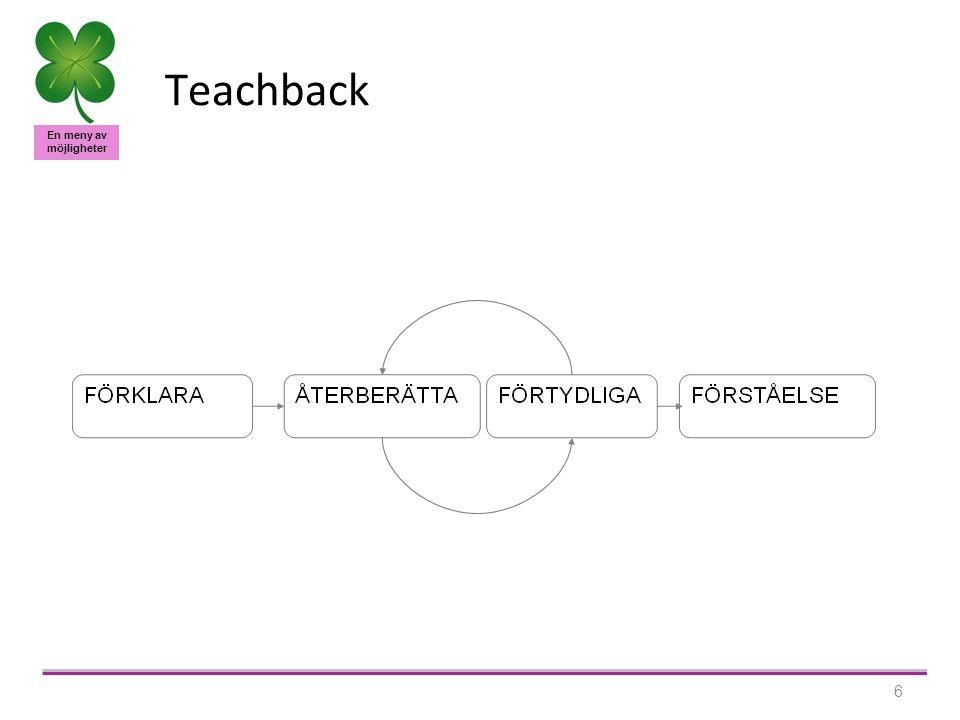 En meny av möjligheter 6 Teachback