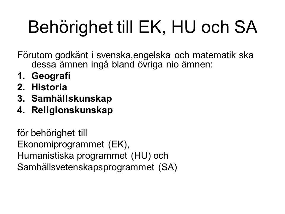 Behörighet till EK, HU och SA Förutom godkänt i svenska,engelska och matematik ska dessa ämnen ingå bland övriga nio ämnen: 1.Geografi 2.Historia 3.Samhällskunskap 4.Religionskunskap för behörighet till Ekonomiprogrammet (EK), Humanistiska programmet (HU) och Samhällsvetenskapsprogrammet (SA)