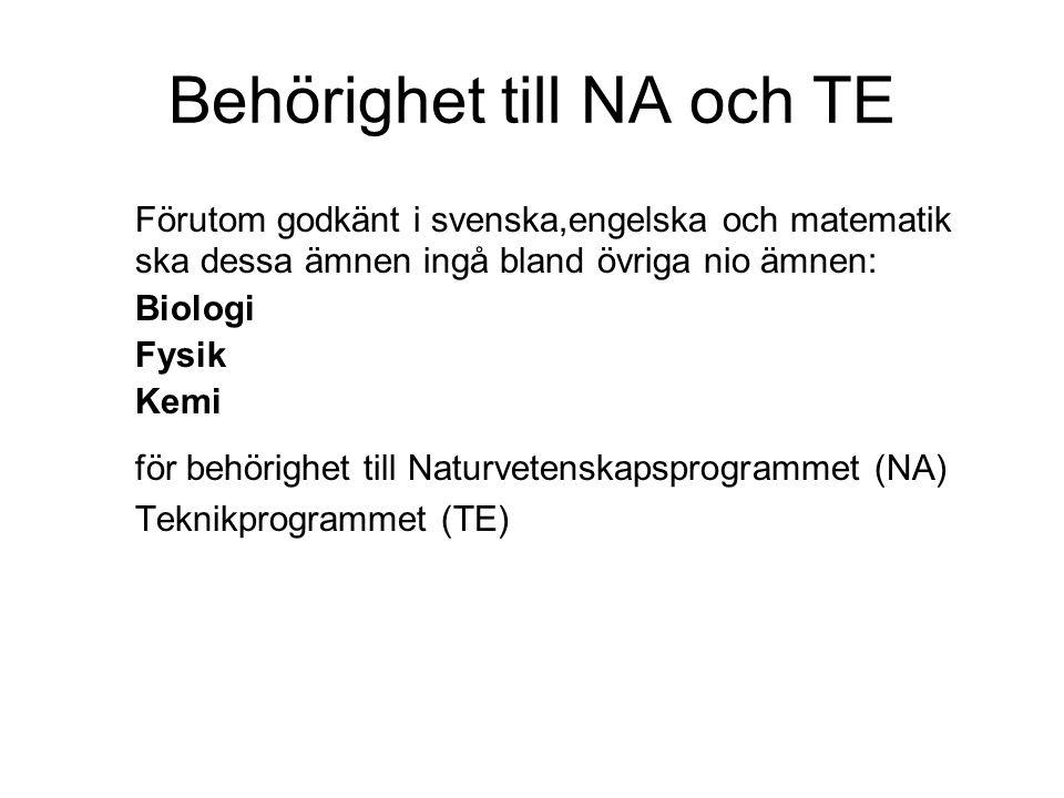 Behörighet till NA och TE Förutom godkänt i svenska,engelska och matematik ska dessa ämnen ingå bland övriga nio ämnen: Biologi Fysik Kemi för behörighet till Naturvetenskapsprogrammet (NA) Teknikprogrammet (TE)