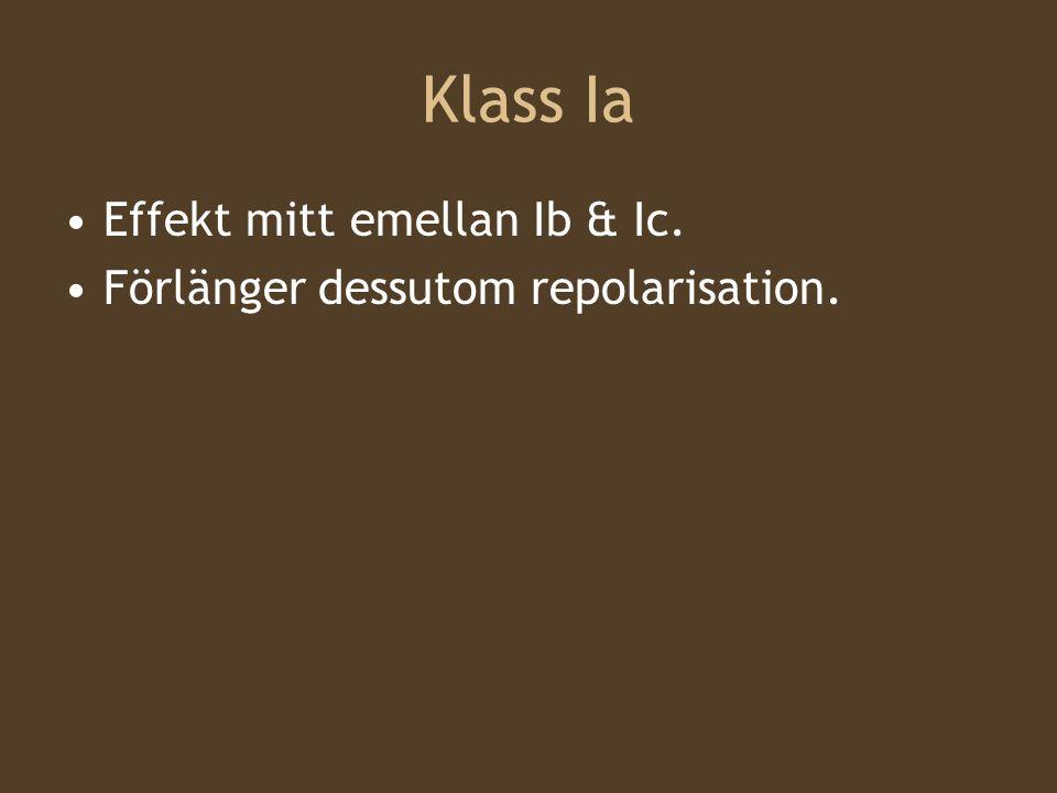 Klass Ia Effekt mitt emellan Ib & Ic. Förlänger dessutom repolarisation.