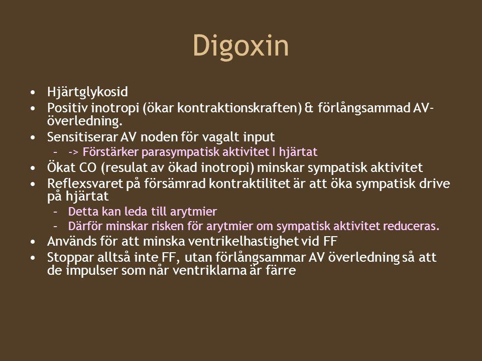Digoxin Hjärtglykosid Positiv inotropi (ökar kontraktionskraften) & förlångsammad AV- överledning. Sensitiserar AV noden för vagalt input –-> Förstärk