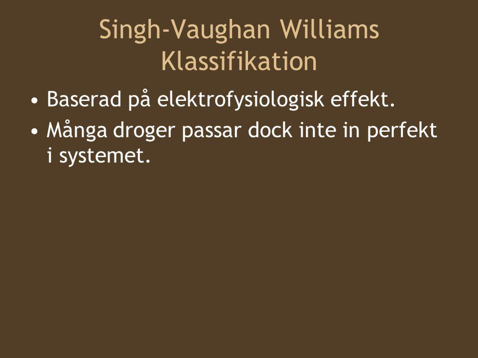 Singh-Vaughan Williams Klassifikation Baserad på elektrofysiologisk effekt. Många droger passar dock inte in perfekt i systemet.