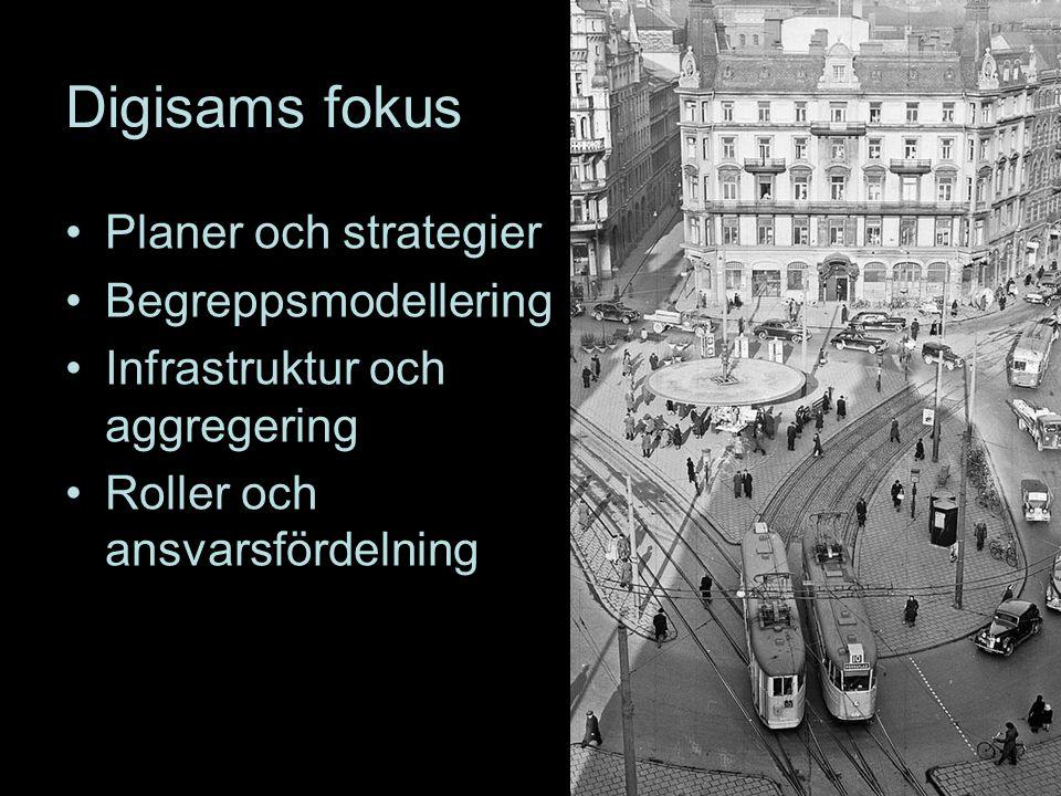Digisams fokus Planer och strategier Begreppsmodellering Infrastruktur och aggregering Roller och ansvarsfördelning