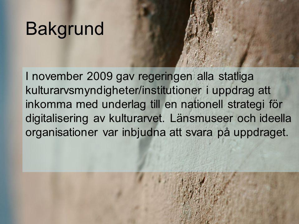 I november 2009 gav regeringen alla statliga kulturarvsmyndigheter/institutioner i uppdrag att inkomma med underlag till en nationell strategi för dig
