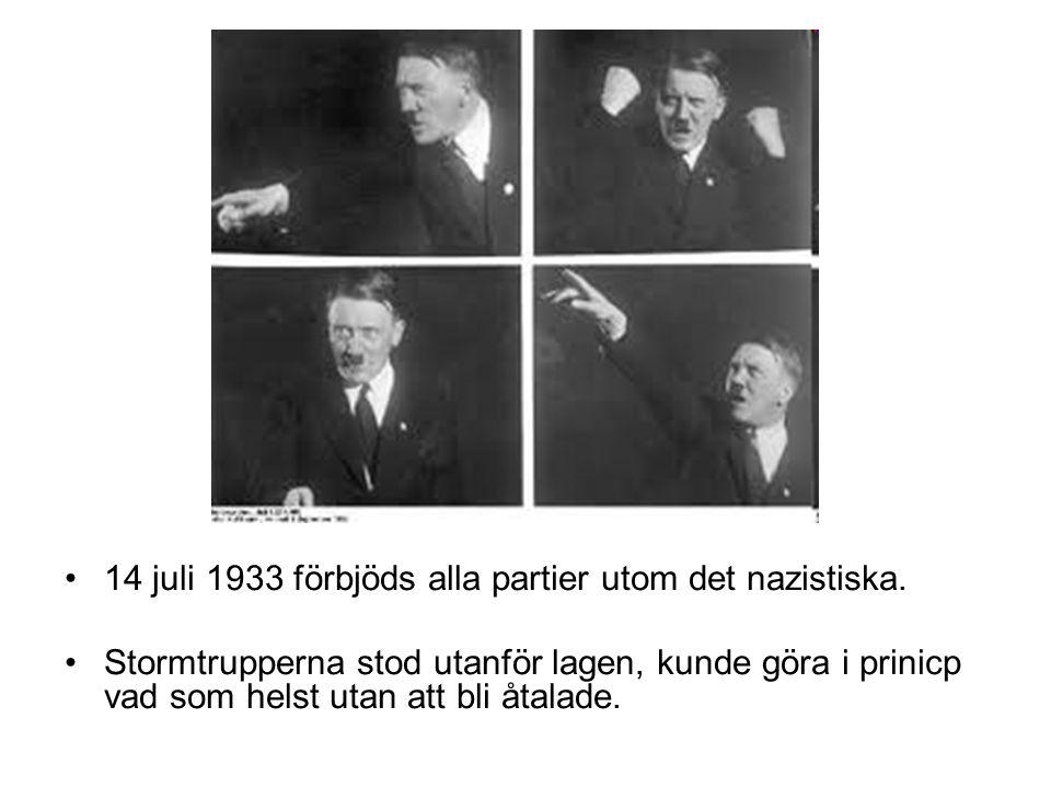 14 juli 1933 förbjöds alla partier utom det nazistiska. Stormtrupperna stod utanför lagen, kunde göra i prinicp vad som helst utan att bli åtalade.