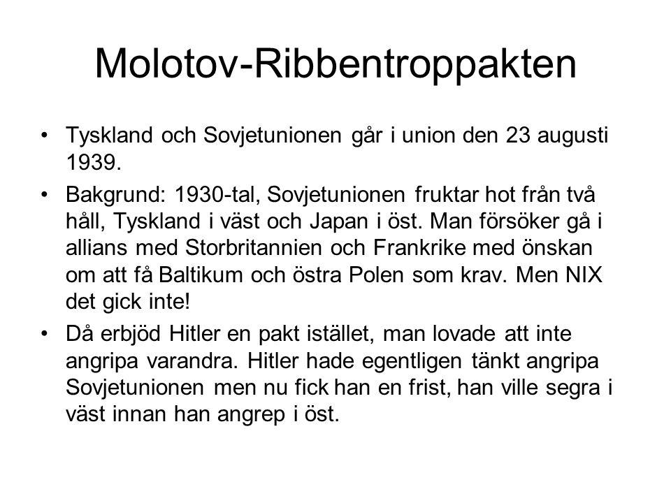 Molotov-Ribbentroppakten Tyskland och Sovjetunionen går i union den 23 augusti 1939. Bakgrund: 1930-tal, Sovjetunionen fruktar hot från två håll, Tysk