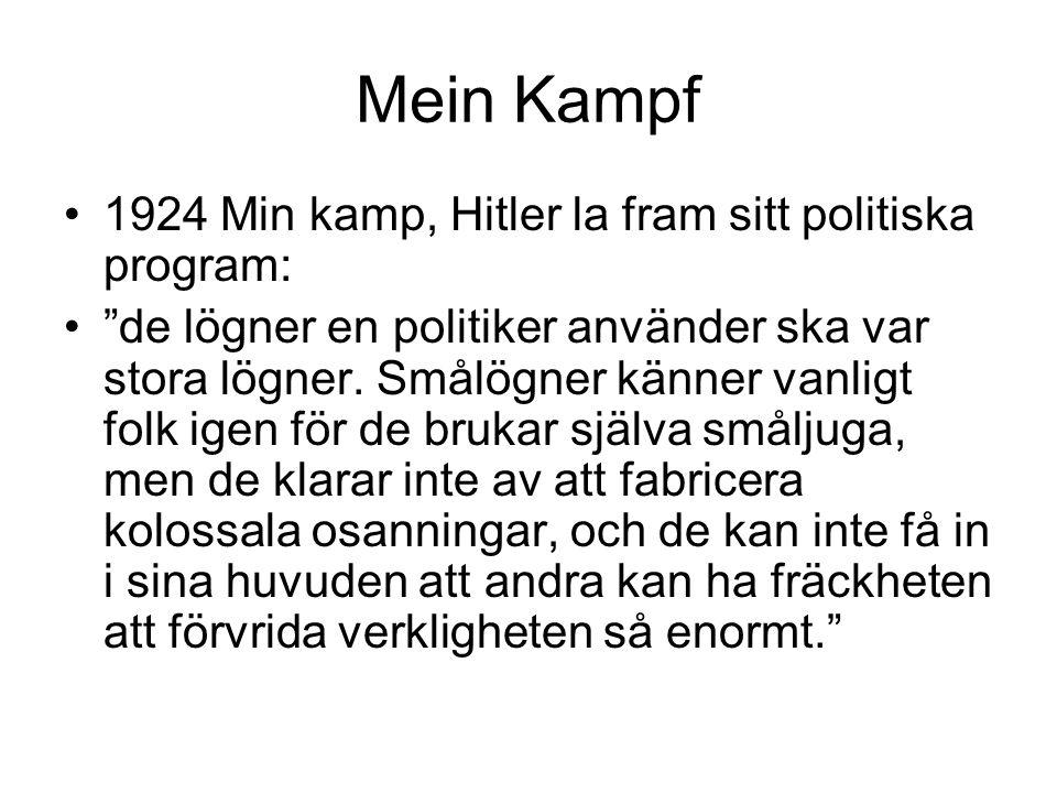 """Mein Kampf 1924 Min kamp, Hitler la fram sitt politiska program: """"de lögner en politiker använder ska var stora lögner. Smålögner känner vanligt folk"""