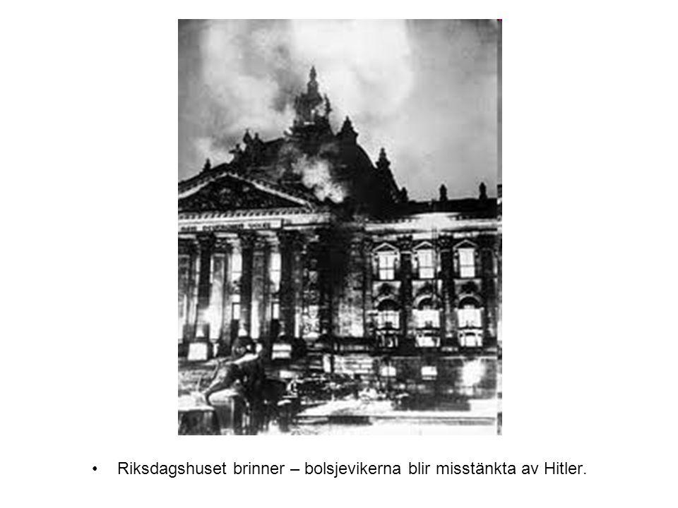 Riksdagshuset brinner – bolsjevikerna blir misstänkta av Hitler.