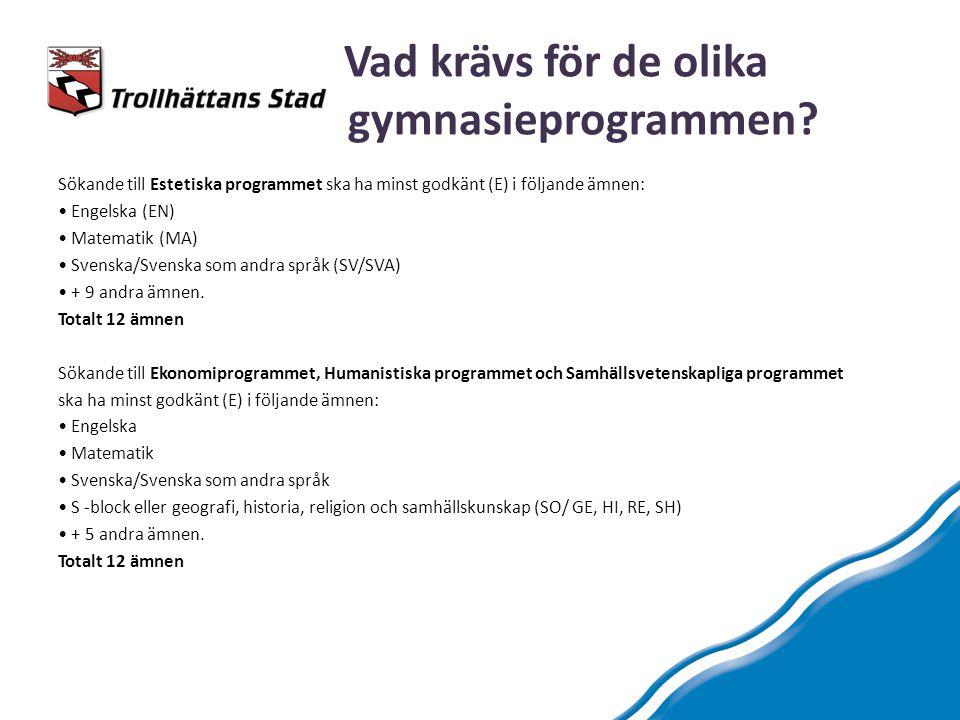 Vad krävs för de olika gymnasieprogrammen? Sökande till Estetiska programmet ska ha minst godkänt (E) i följande ämnen: Engelska (EN) Matematik (MA) S