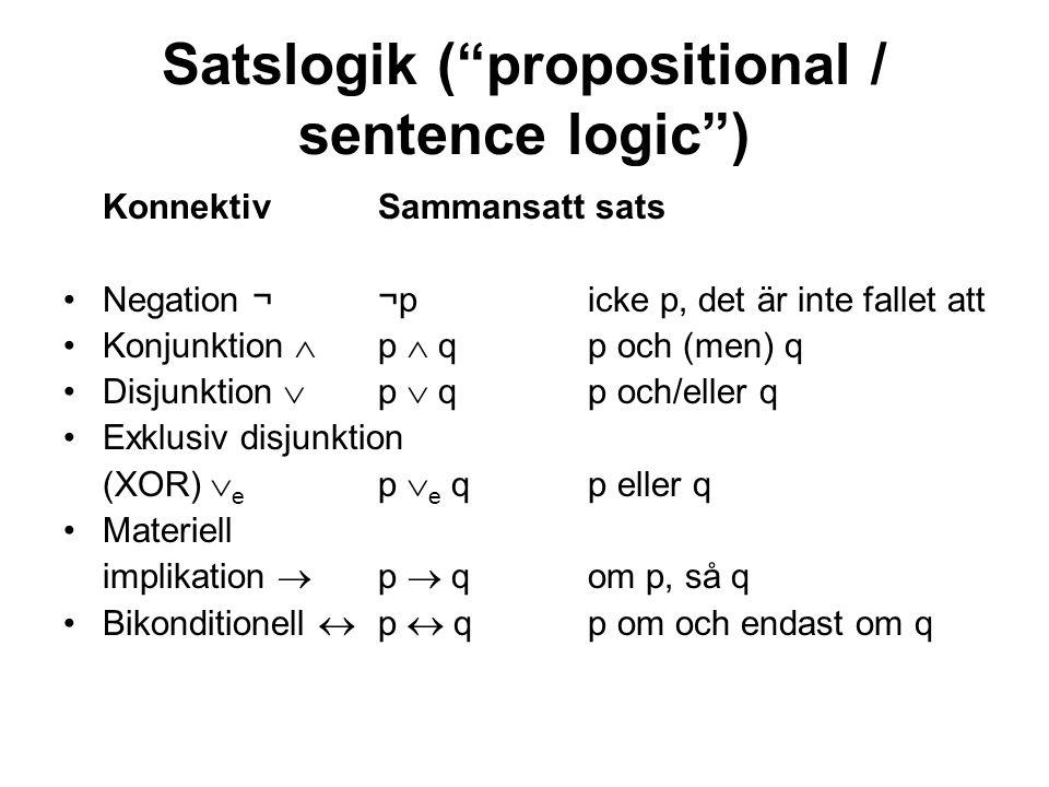 Satslogik ( propositional / sentence logic ) KonnektivSammansatt sats Negation ¬¬p icke p, det är inte fallet att Konjunktion  p  q p och (men) q Disjunktion  p  q p och/eller q Exklusiv disjunktion (XOR)  e p  e q p eller q Materiell implikation  p  qom p, så q Bikonditionell  p  qp om och endast om q