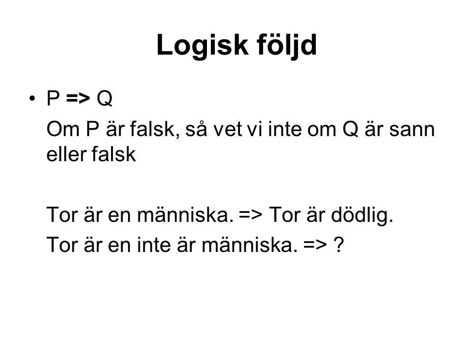 Logisk följd P => Q Om P är falsk, så vet vi inte om Q är sann eller falsk Tor är en människa.