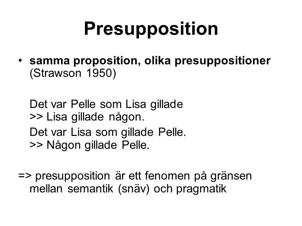 Presupposition samma proposition, olika presuppositioner (Strawson 1950) Det var Pelle som Lisa gillade >> Lisa gillade någon.