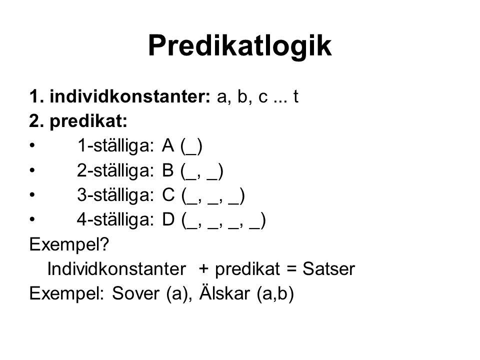 Predikatlogik 1.individkonstanter: a, b, c... t 2.
