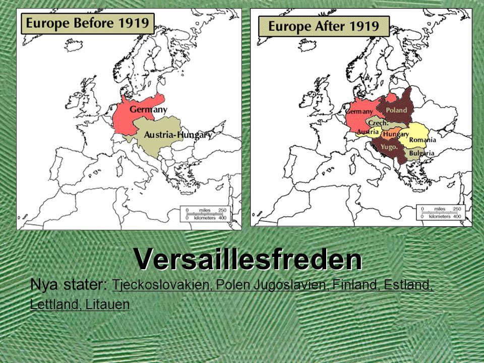 Versaillesfreden Nya stater: Tjeckoslovakien, Polen Jugoslavien, Finland, Estland, Lettland, Litauen