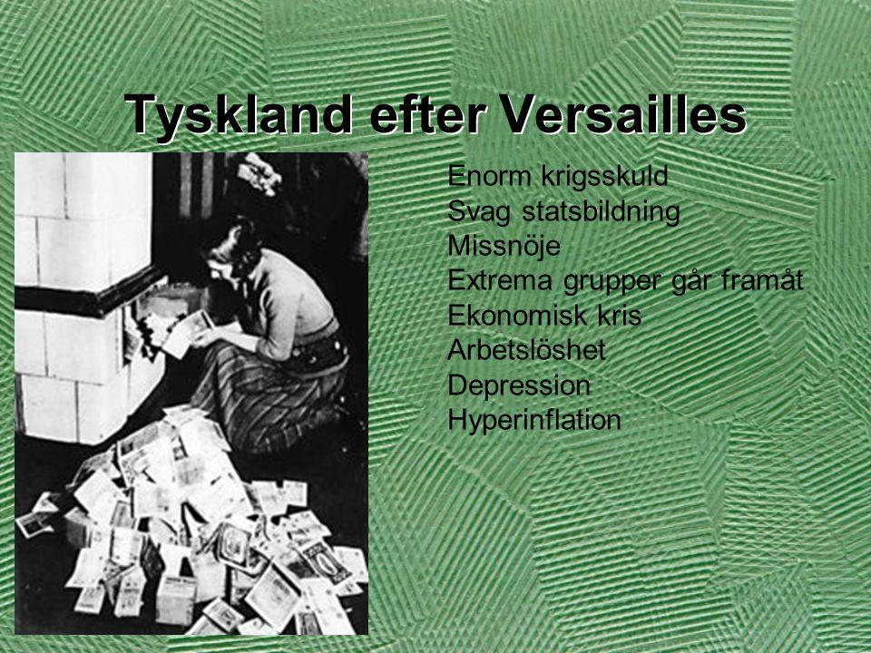 Tyskland efter Versailles Enorm krigsskuld Svag statsbildning Missnöje Extrema grupper går framåt Ekonomisk kris Arbetslöshet Depression Hyperinflatio