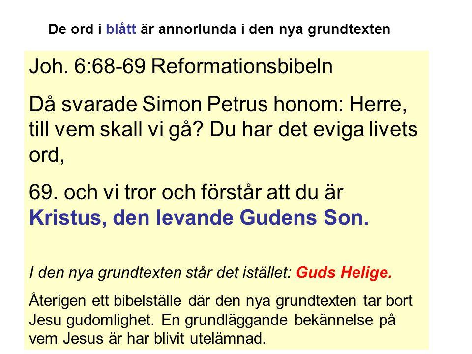 Joh.6:68-69 Reformationsbibeln Då svarade Simon Petrus honom: Herre, till vem skall vi gå.