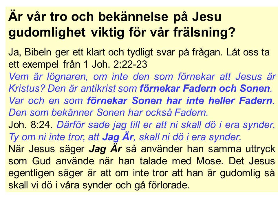 Är vår tro och bekännelse på Jesu gudomlighet viktig för vår frälsning.
