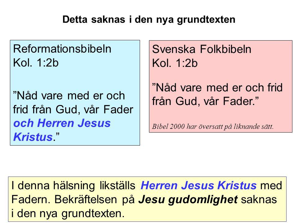 Svenska Folkbibeln Kol.