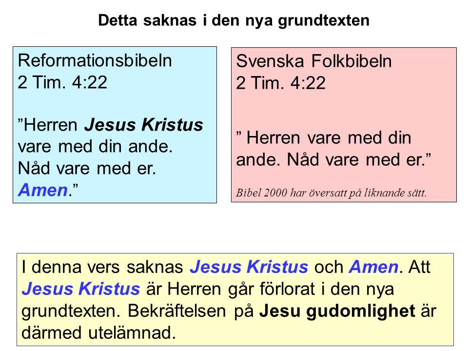 Svenska Folkbibeln 2 Tim.4:22 Herren vare med din ande.
