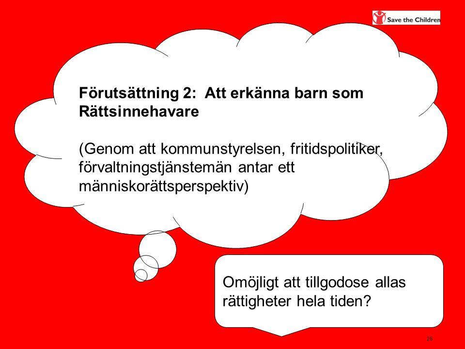25 Förutsättning 2: Att erkänna barn som Rättsinnehavare (Genom att kommunstyrelsen, fritidspolitiker, förvaltningstjänstemän antar ett människorättsp