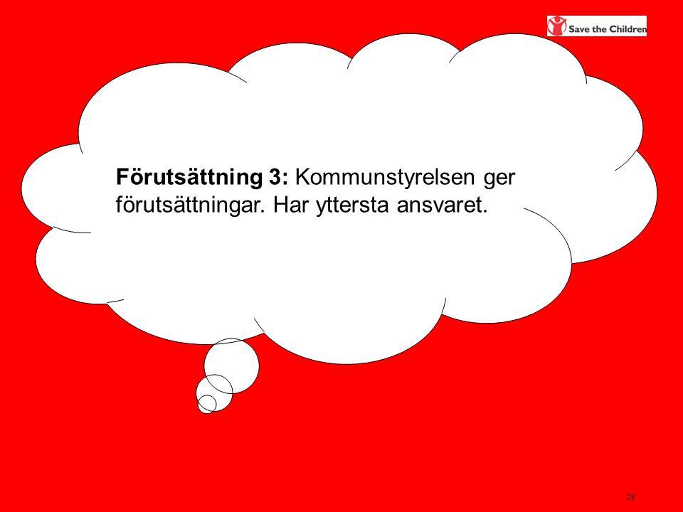 28 Förutsättning 3: Kommunstyrelsen ger förutsättningar. Har yttersta ansvaret.