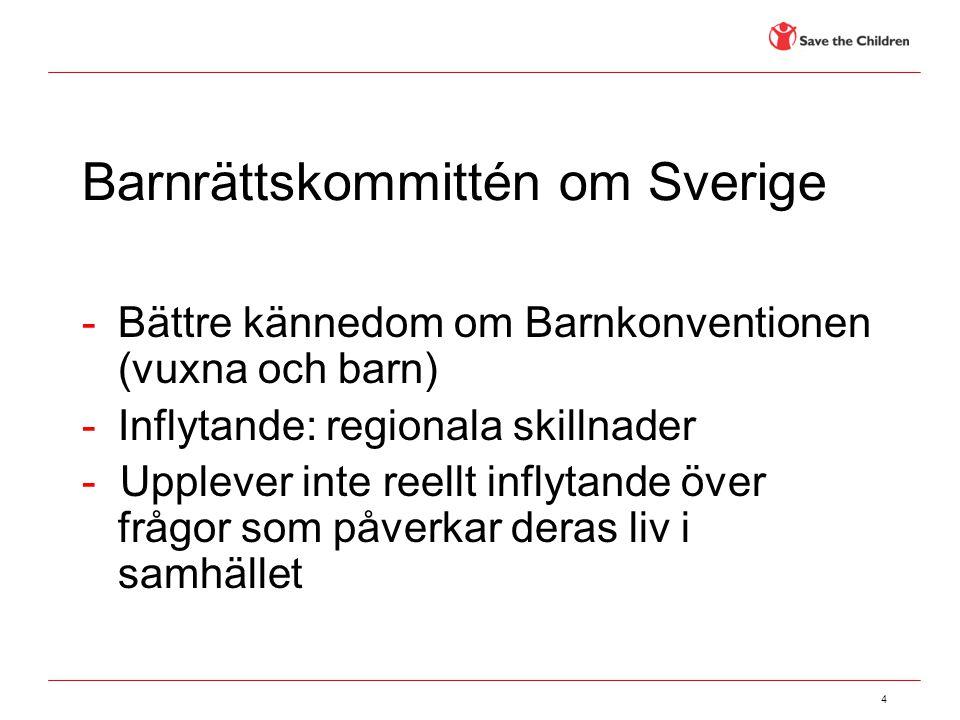 4 Barnrättskommittén om Sverige -Bättre kännedom om Barnkonventionen (vuxna och barn) -Inflytande: regionala skillnader - Upplever inte reellt inflyta