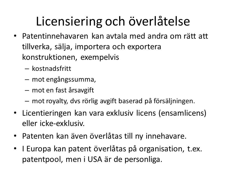 Licensiering och överlåtelse Patentinnehavaren kan avtala med andra om rätt att tillverka, sälja, importera och exportera konstruktionen, exempelvis –