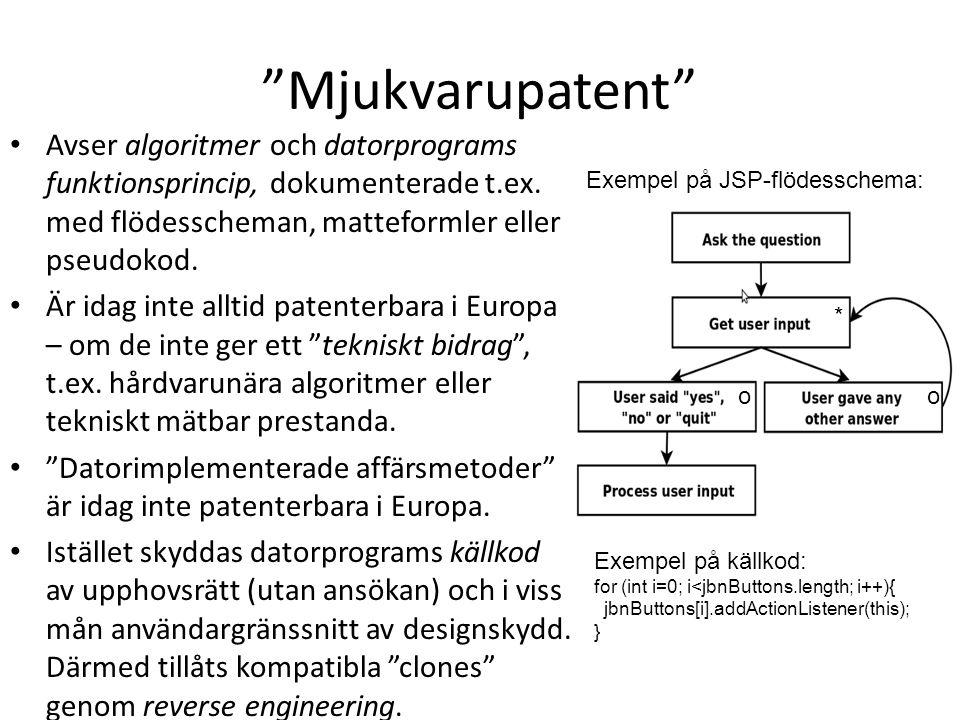 """""""Mjukvarupatent"""" Avser algoritmer och datorprograms funktionsprincip, dokumenterade t.ex. med flödesscheman, matteformler eller pseudokod. Är idag int"""
