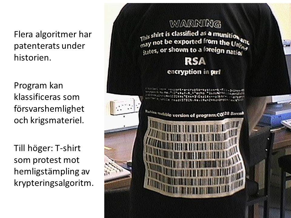 Flera algoritmer har patenterats under historien. Program kan klassificeras som försvarshemlighet och krigsmateriel. Till höger: T-shirt som protest m