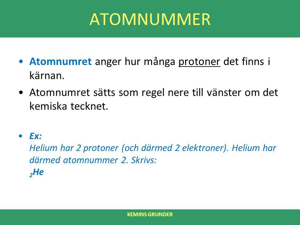 ATOMNUMMER Atomnumret anger hur många protoner det finns i kärnan. Atomnumret sätts som regel nere till vänster om det kemiska tecknet. Ex: Helium har