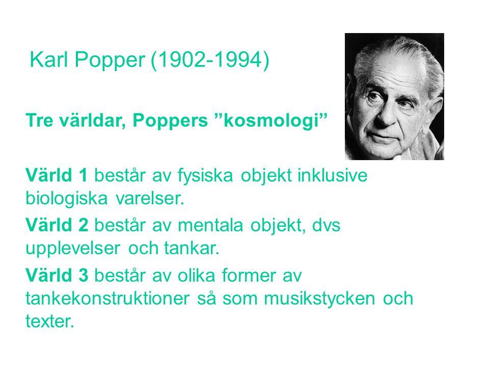 """Karl Popper (1902-1994) Tre världar, Poppers """"kosmologi"""" Värld 1 består av fysiska objekt inklusive biologiska varelser. Värld 2 består av mentala obj"""
