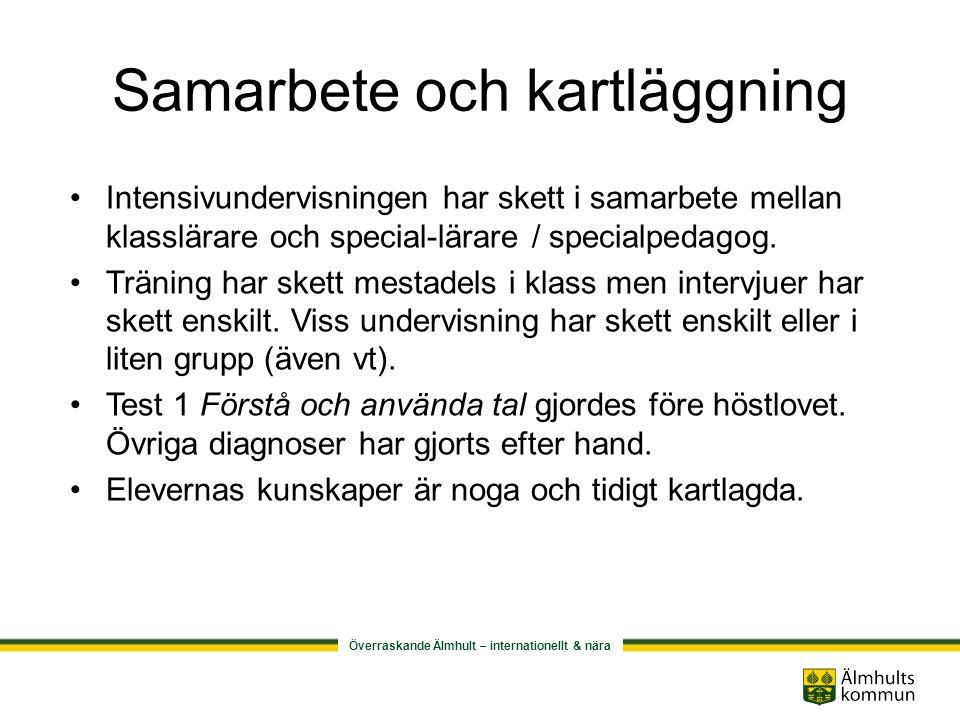 Överraskande Älmhult – internationellt & nära Samarbete inom kommunen Berörda speciallärare / specialpedagoger träffades en gång i månaden.