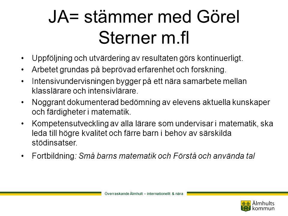Överraskande Älmhult – internationellt & nära NEJ= stämmer ej med Görel Sterner m.fl I första hand ges intensivundervisning utöver klassundervisning.