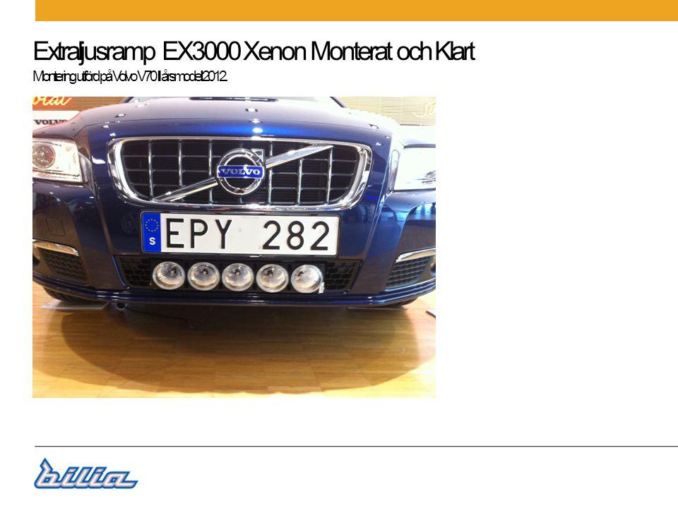 Extraljusramp EX3000 Xenon Monterat och Klart Material Extraljusramp EX3000 Xenon 5stLO KAMAS5XX 1 Extraljuskablage OL ConstructionLO OL119-6X 1 Nummerplåtsfäste Kama 2-packLO KAMANPVX 1 Skyddskåpa Transparant KamaLO KAMASTS5X 1 Extraljusfäste universal Hella För mont av ballaster VX 3683048X 1 Arbetsoperation 35612+35612L Paketnummer EX9022