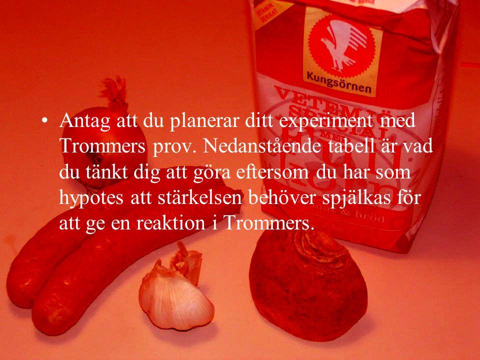 Antag att du planerar ditt experiment med Trommers prov.