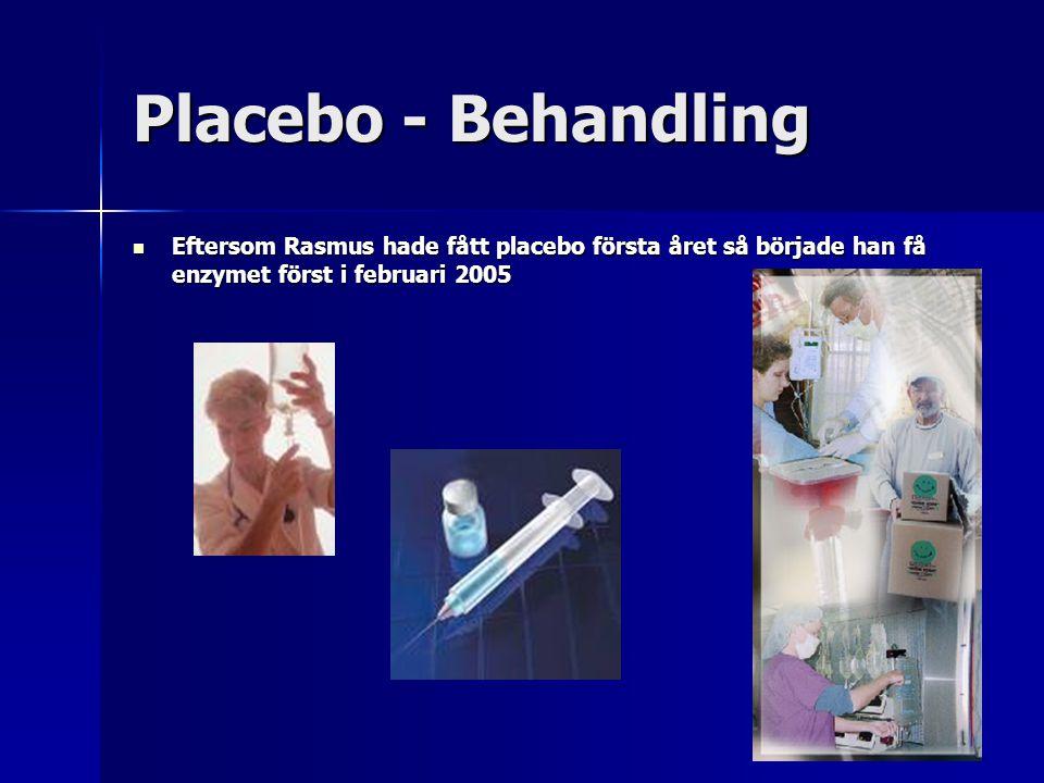 Placebo - Behandling Eftersom Rasmus hade fått placebo första året så började han få enzymet först i februari 2005 Eftersom Rasmus hade fått placebo första året så började han få enzymet först i februari 2005