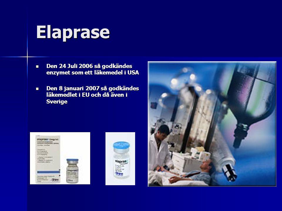 Elaprase Den 24 Juli 2006 så godkändes enzymet som ett läkemedel i USA Den 24 Juli 2006 så godkändes enzymet som ett läkemedel i USA Den 8 januari 2007 så godkändes läkemedlet i EU och då även i Sverige Den 8 januari 2007 så godkändes läkemedlet i EU och då även i Sverige